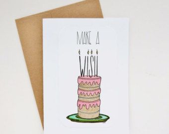 make a wish birthday greeting card - one of a kind hand drawn birthday cake illustration