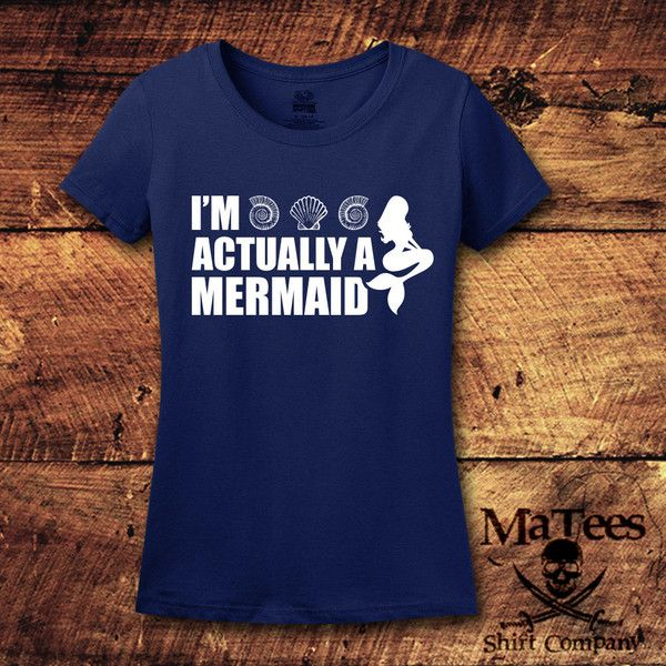 I'm Actually a Mermaid Mermaid Mermaid Shirt Mermaid Top Always Be a... ($15) ❤ liked on Polyvore featuring tops, t-shirts, red, women's clothing, t shirt, tee-shirt, blue shirt, red tee and blue tee