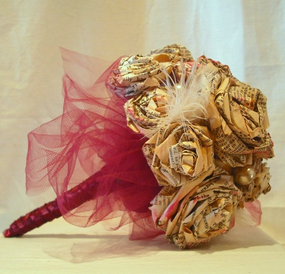 Shabby Chic Vintage Paper Rose Bouquet...This would be really cute for a vintage look in a bedroom or even just simple table decor.