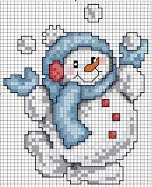 Eli & Art: Bonecos de neve ponto cruz (esquemas).