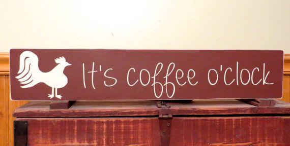 Rustic wood sign /  It's coffee o'clock / by freelandfolkartsigns, $28.00