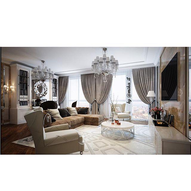 Уменьшила как могла, но зато все влезло)). Апартаменты. Гостиная. #egorova_marina #domoff_group #domoff_interiors #domof #3dvisualization #3dmaxdesign #vrayrender #3dviz #luxuryinterior #luxuryinteriors