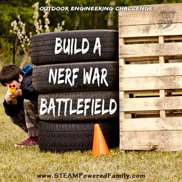 Build a Nerf War Battlefield for a Nerf War birthday party or a summer filled with fun! A brilliant outdoor engineering challenge using upcycled items.