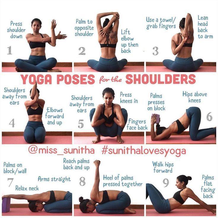 """""""Yoga posiert für die Schultern! . Vor einem Schreibtisch, Computer oder Lapt… – Yoga"""