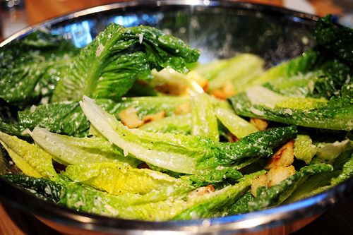 Pioneer Woman Ceasar Salad.  Fabulous ceasar salad.  I used no garlic and substituted shallots as I'm not a garlic fan.  Great, light flavor.  Kids LOVED it.  I think I added tomatoes and didn't do the croutons.