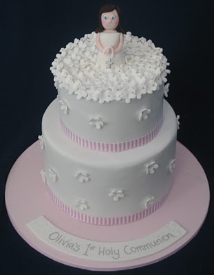 Pink and White Communion Cake (idea for next order, but need 2 figurines)