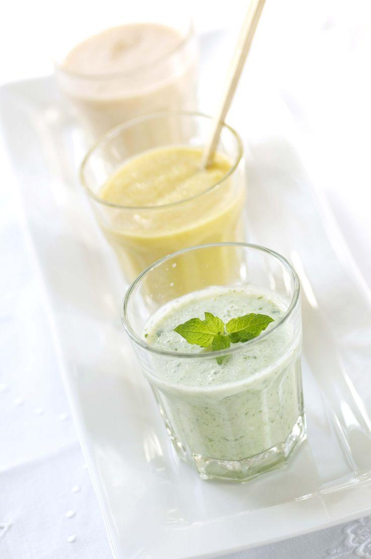 Agurkesmoothie og smoothie med ananas og kiwi