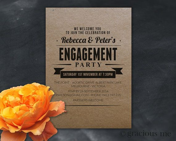 Engagement Party Invitation - Custom Design, Printable. A lovely design that can be tailored to suit your engagement celebration | Gracious Me