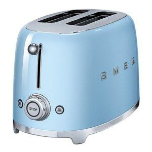Smeg 2-Slice Toaster in Pastel Blue: The first thing you'll notice about this toaster is its color, and fair enough its one of the most beautiful things about it. With inspirations from the 2016 Pantone Color of the Year, Smeg has produced an amazing toaster with all the features you're looking for. Its curved, sleek body makes it a centerpiece in your kitchen
