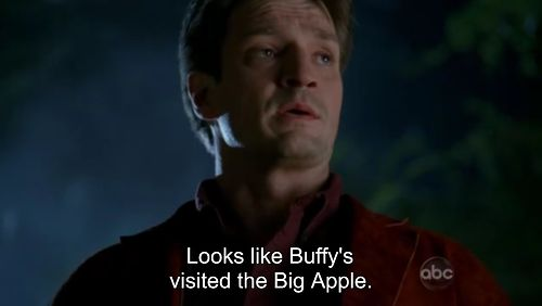This is Nathan Fillion playing Richard Castle dressed as Captain Malcolm Reynolds talking about Buffy. <3