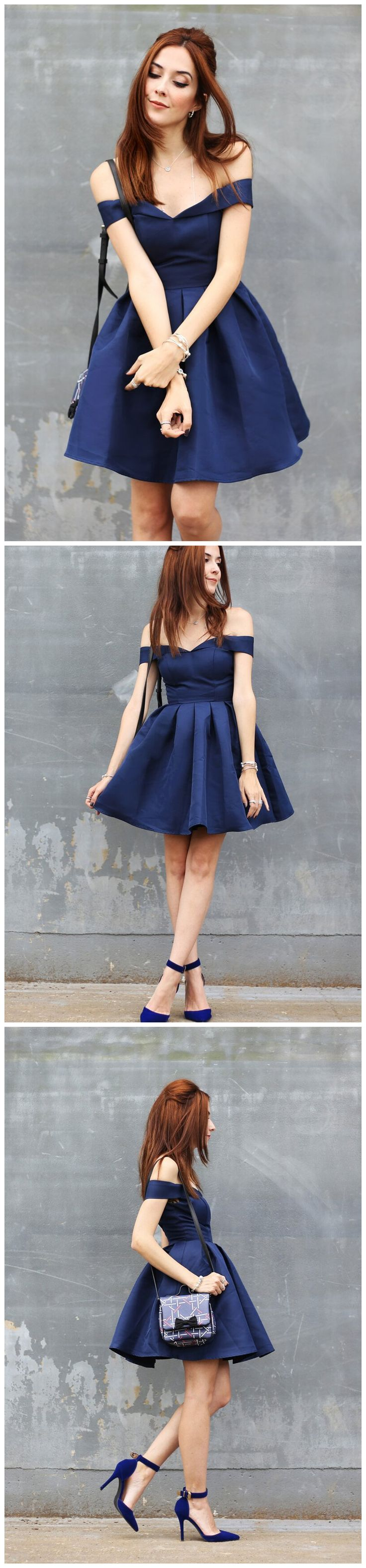 CHIC A-LINE OFF-THE-SHOULDER HOMECOMING DRESS MODEST BLUE CHEAP SHORT PROM DRESS AM088