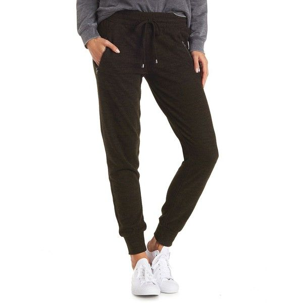 Charlotte Russe Zip Pocket Jogger Pants ($16) ❤ liked on Polyvore featuring pants, olive, white jogger pants, olive pants, stretch waist pants, drawstring jogger pants and elastic waist pants