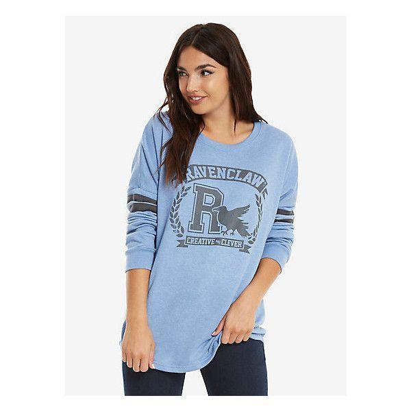 Harry Potter Ravenclaw Traits Womens Sweatshirt ($40) ❤ liked on Polyvore featuring tops, hoodies, sweatshirts, warner bros., crew top, crew neck tops, blue crew neck sweatshirt and eagles sweatshirt