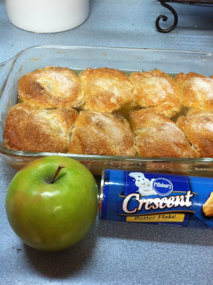 Apple Dumplings. 350 degree oven. Peel, core  quarter 2 Granny Smith apples. Melt 1 stick of butter  1 cup of sugar in saucepan. When melted add 1 teaspoon vanilla  3/4 cup of water.  Take quartered apples and wrap 1 triangle of a crescent roll(press dough to cover) place apple dumplings in a 9 x 13 pan and cover with butter sugar mixture. Bake 35-45 mins until brown. Sprinkle with cinnamon sugar once removed from oven. Allow to cool a bit before diving in!!!!