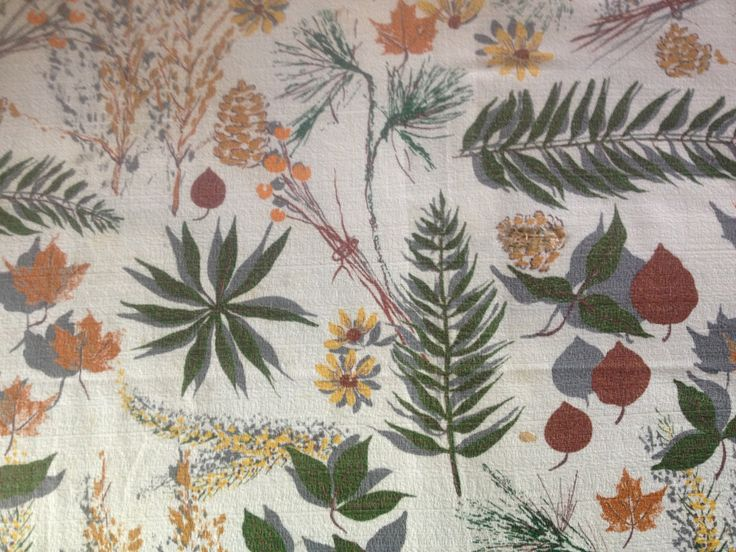 Mid Century Barkcloth Fabric Cutters 50s Modern Foliage Nature Projects Upholstery Drapery Cotton Fabric Yardage from JansVintageStuff on Etsy Studio