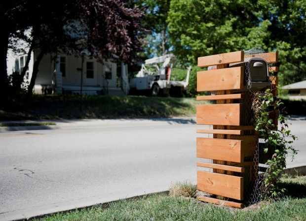 wooden slats Mailboxes,