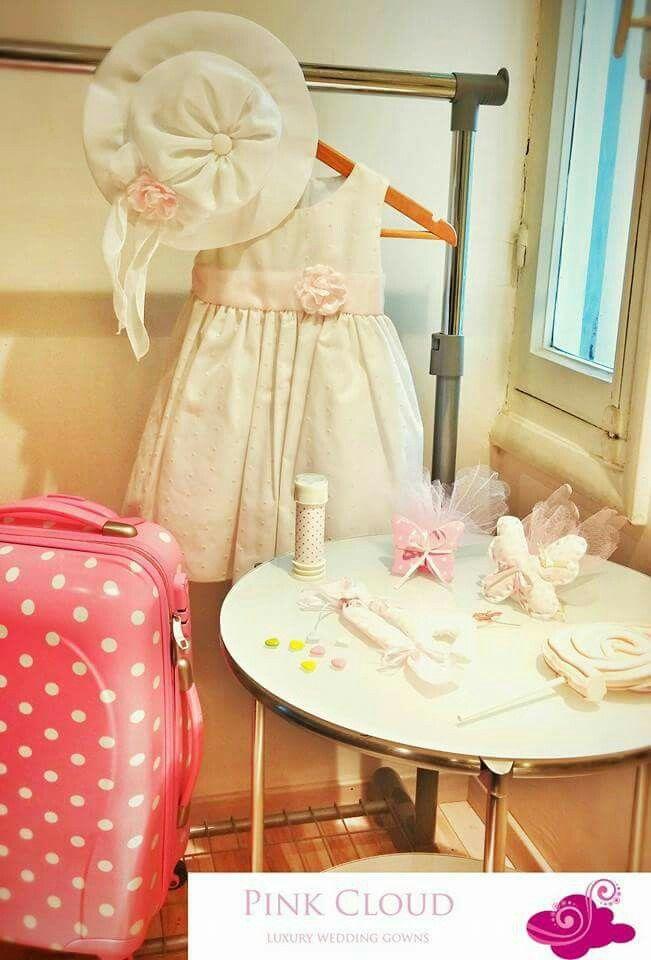 Βαπτιση#pink cloud#κοριτσι#πουα#ροζ#φορεμα#βαλιτσα#φουσκες#πεταλουδες