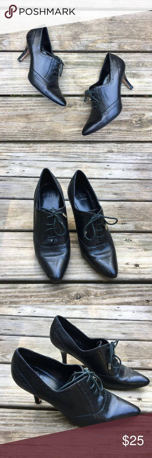 """Circa Vintage-Style Black Lace-up Heels These heels are perfect for you vintage fashion lovers! They are in great condition. Circa Joan & David brand in a size 7.5 medium. They have a 3"""" heel. Super-cute!! Reasonable offers welcome Circa Joan & David Shoes Heels"""