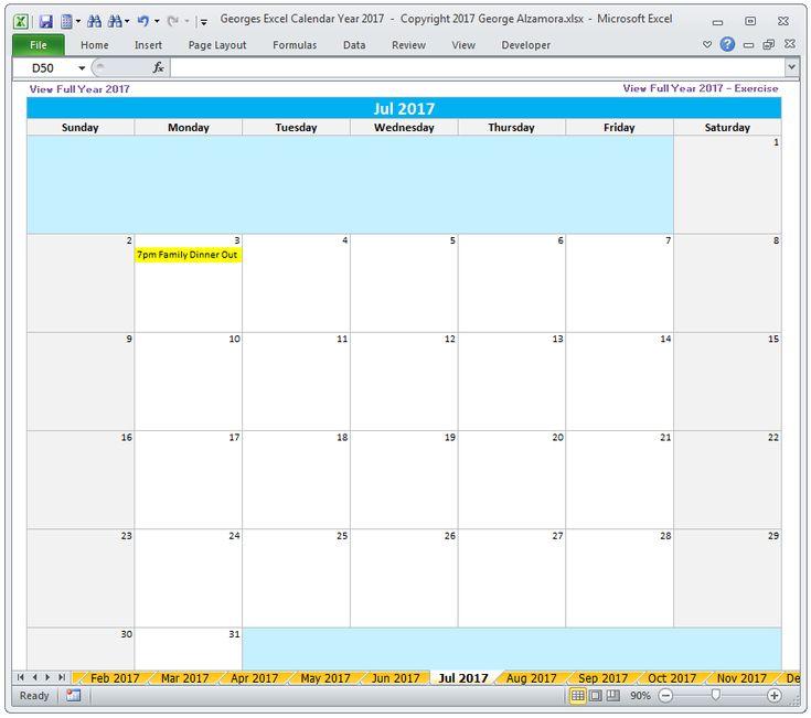 As 14 melhores imagens em 2017 Calendar Year - Excel Spreadsheet - annual calendar template