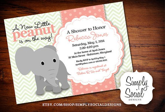 Elephant Baby Shower Invitation Mint Green Chevron and Coral Little Peanut Printable