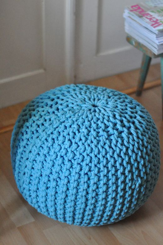 Turquoise round hand knitted floor cushion, pouf