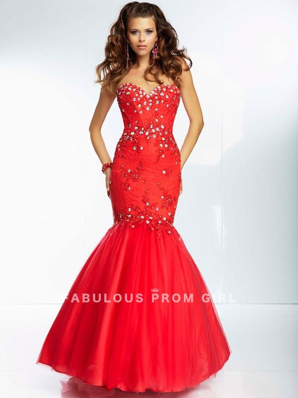 Trumpet / Mermaid Sweetheart  Beading  Sleeveless Floor-length Tulle  Prom Dresses / Evening Dresses