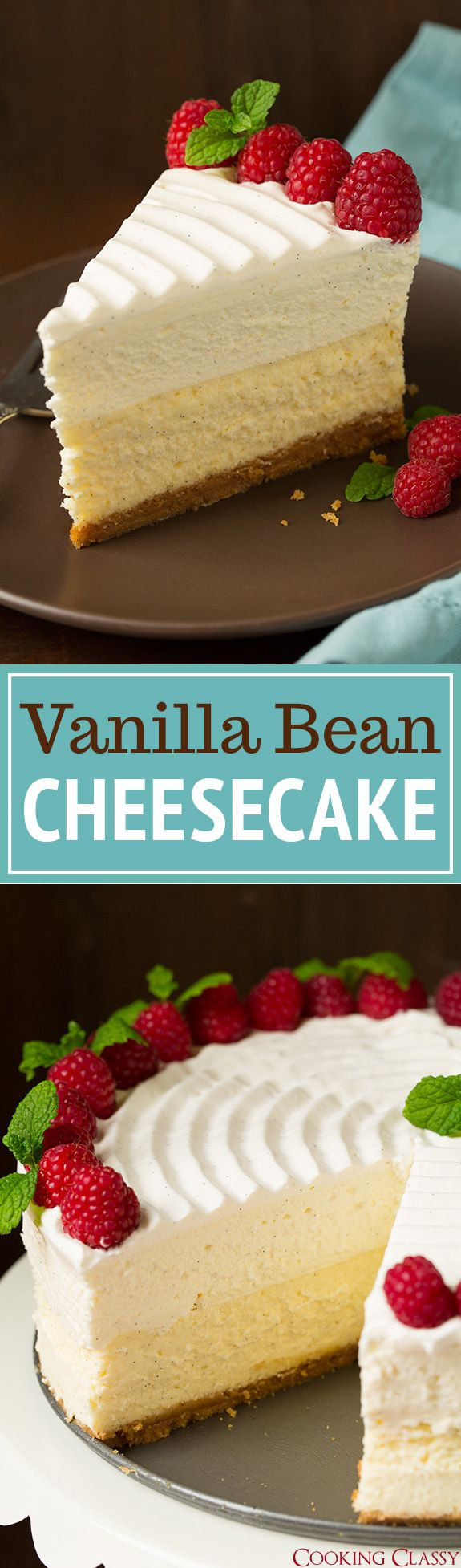 Vanilla Bean Cheesecake (Cheesecake Factory copycat) - this is the BEST CHEESECAKE EVER!! Buttery graham crust, decadent vanilla bean cheesecake, sweet white chocolate mousse and fluffy whipped cream