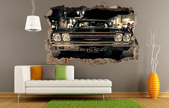 3D Wall Decal print Old Car Classic Cars Chevrolet Impala Muscle cars Vintage Garage Wall Art Vinyl