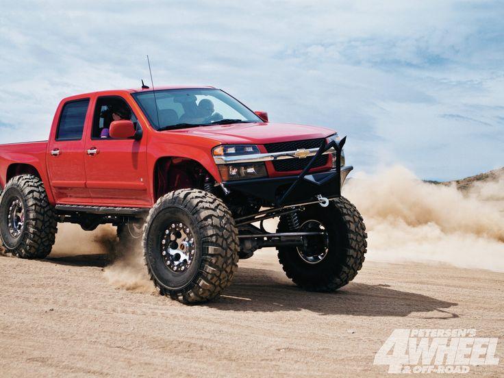 Red Lifted Jacked -chevy-colorado-v8-4x4-rockcrawler+front-three-quarter-shot