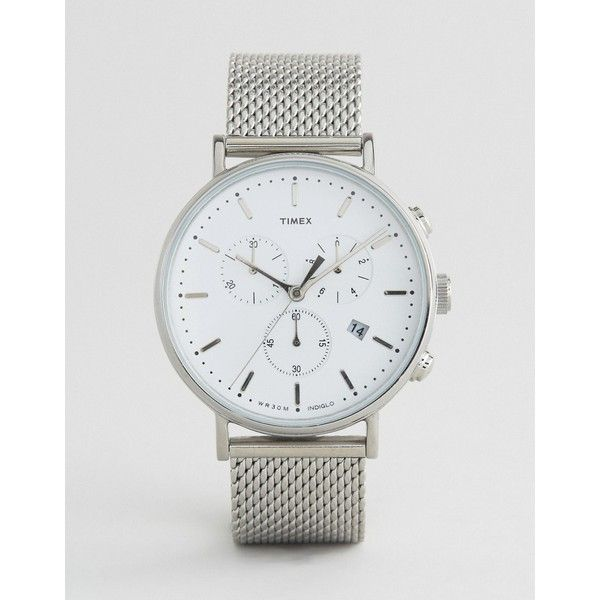 Timex Fairfield Chronograph 41mm Mesh Watch In Silver ($150) ❤ liked on Polyvore featuring men's fashion, men's jewelry, men's watches, silver, mens silver watches, mens mesh watches, timex mens watches and mens chronograph watches