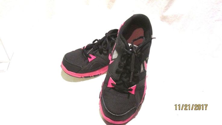 Nike Ladies Athletic Training Shoes Size 7Y Black Pink #Nike #Trainers
