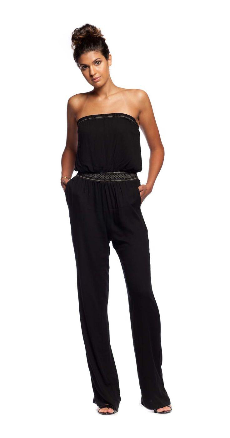 Ella Moss Stella Smocked Jumpsuit in Black