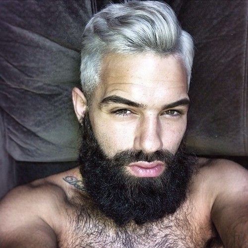 Men S Silver Hair And Black Beard Hair Pinterest