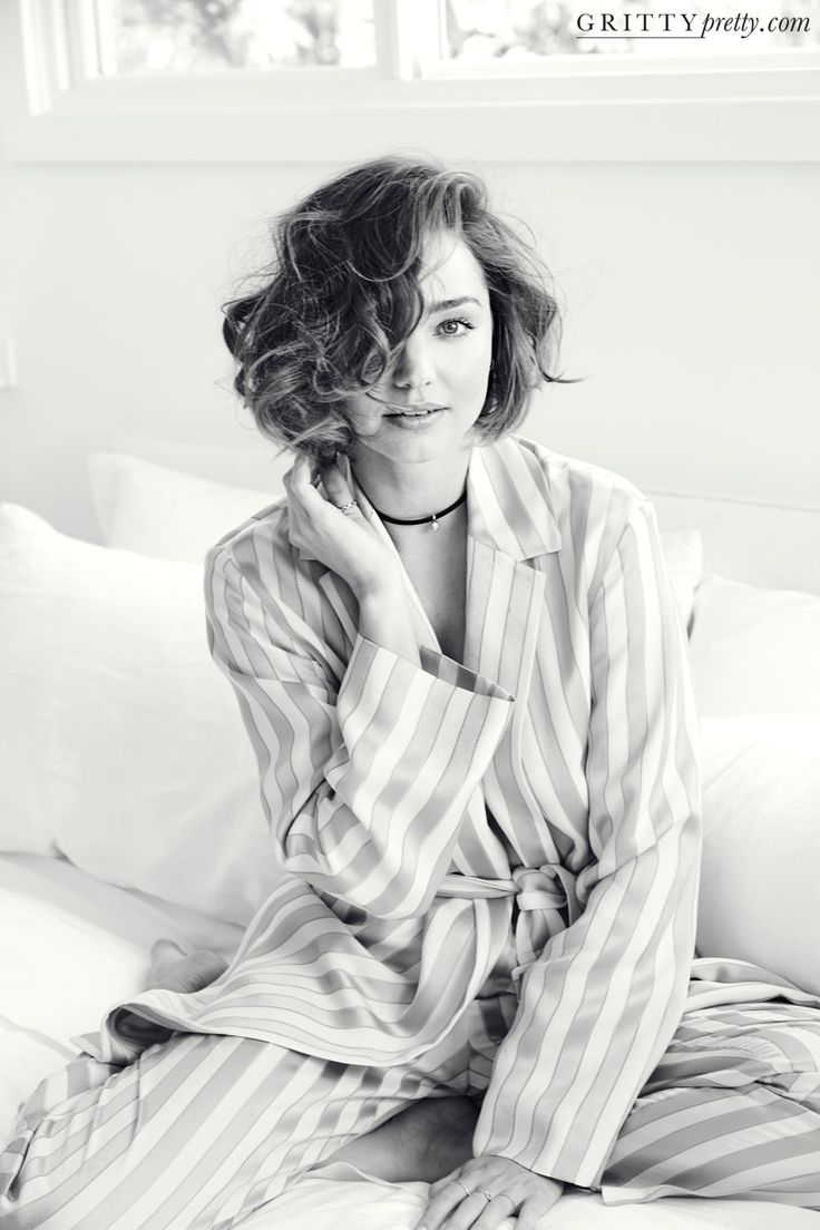 Miranda Kerr embraces pajama dressing in striped The Row jacket and matching pants for Gritty Pretty magazine Winter 2016 issue