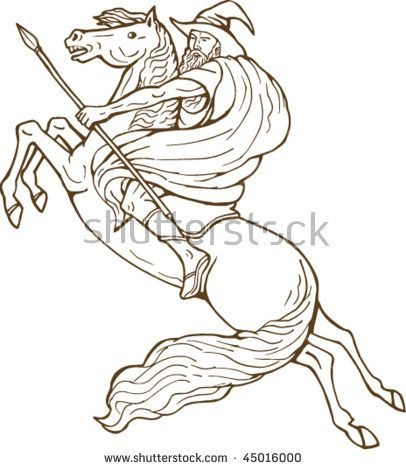 vector illustration of Norse God Odin riding horse isolated on white  #Odin #retro #illustration