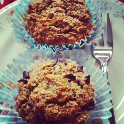 Healthy vegan oatmeal muffins with banana