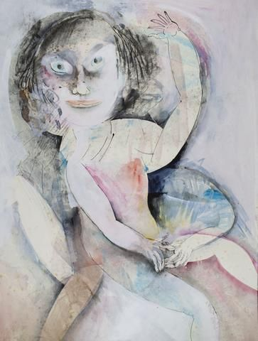 Anne Marie Hall 'Bright Eyed Girl Watching from the Couch ' - Gouache – Angela Tandori Fine Art