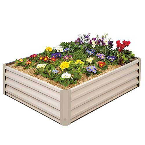Metal Raised Garden Bed Kit - Elevated Planter Box For Growing Herbs, Vegetables, Flowers, and Succulents (1)  High 12 Inch Walls Allows Plant Roots To Breath Better & Water To Drain More Effecient Which Results In Thriving Plants  Easy Do It Yourself Assembly - No Tools Required - Lightweight  Constructed of Durable Metal - Will Not Rot or Crack - Color: Beige  Grow Vegetables, Herbs, Strawberries, Succulents, Flowers & More  Attractive Design - Length: 46 Inches; Width: 35 Inches; He...