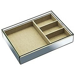 By Savvy - Large glass and linen tray with 4 compartments