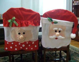 Vídeo tutorial y moldes para hacer cubre sillas navideño ~ Solountip.com