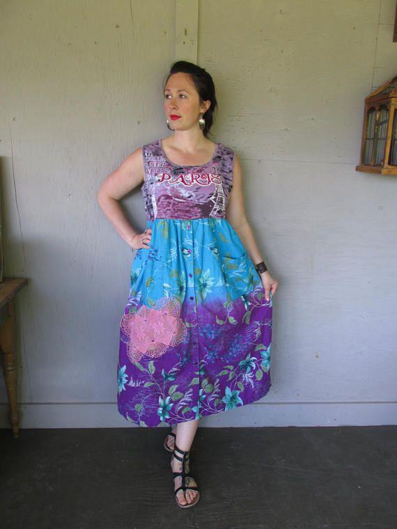 upcycled clothing maxi summer dress Funky Bohemian sun Dress