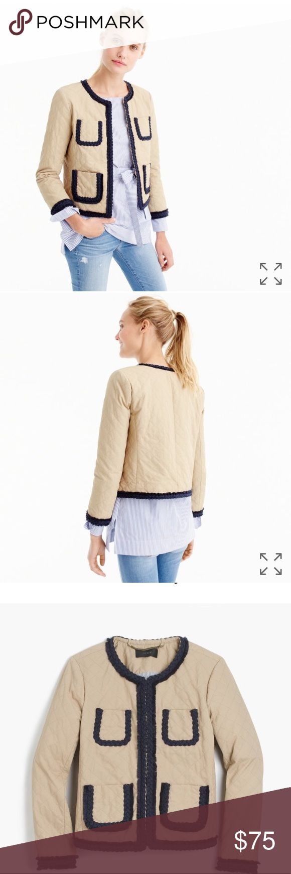 """NWT J.Crew Quilted Safari Jacket, 0 New with tags, never worn  Body length: 20 3/4"""". Sleeve length: 30 1/4"""". Hits at waist.                                                               Cotton/poly. Pockets. Lined. Dry clean. J. Crew Jackets & Coats Blazers"""