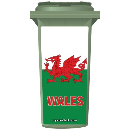 Welsh Flag Style Wheelie Bin Sticker Panel