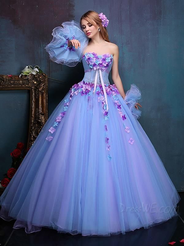 Fancy 3-D Flowers Beading Bowknot Sashes Lace-up Sleeveless Sweetheart Floor Length Ball Gown Dress
