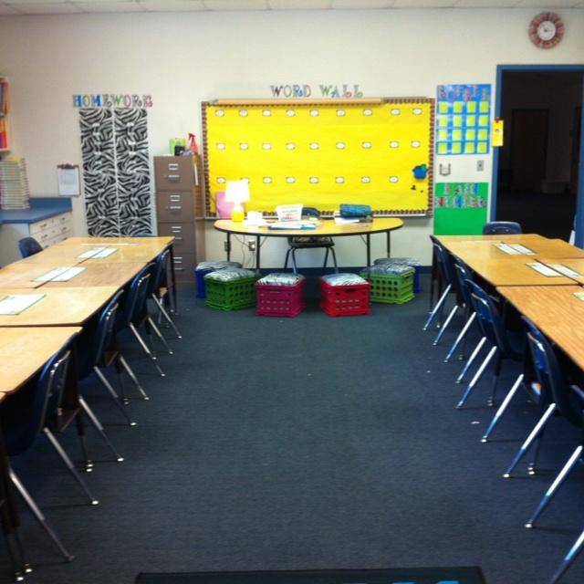 Classroom Decoration Desk Arrangements : Desk arrangement and seat crates classroom decor