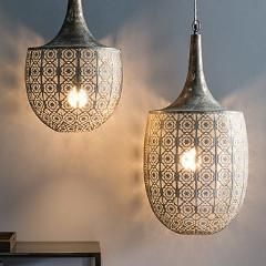 Moroccan style pendant lamp.. This beautiful pendant lamp has a floral lace cut metal design in a grey bronze finish.