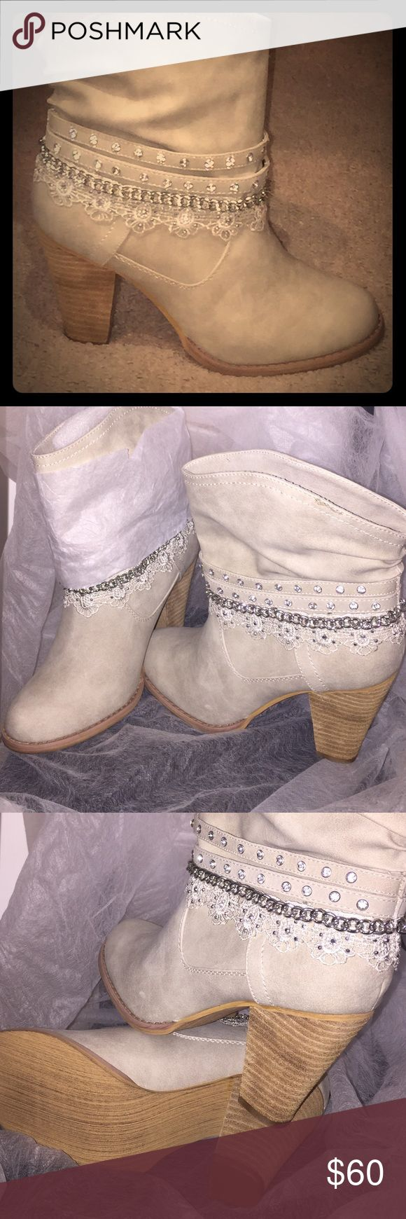 "Brand New Not Rated Boots Super cute cream colored ankle boots with silver and ""diamond"" accent chains!!! Woman's size 7 1/2, heel height 3 1/2 inches Not Rated Shoes Ankle Boots & Booties"