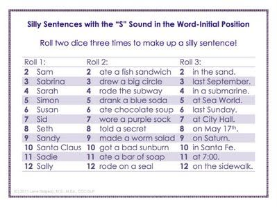 "Free ""Silly Sentences"" Artic Games!  Roll two dice 3 times to pick 3 parts of a sentence, all containing target sound!  So far I have done /s/, /k/, vocalic /r/."