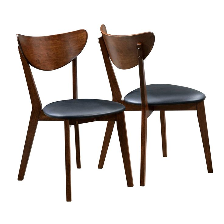 Peony Retro Dark Walnut and Black Seat Dining Chairs (Set of 2) (2 Chairs), Brown (Faux Leather)