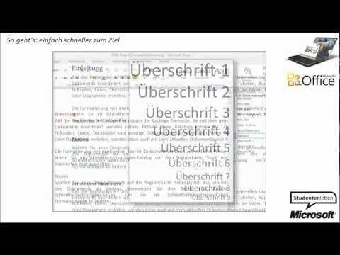 Word 2010: Überschriften für Inhaltsverzeichnis vorbereiten | Microsoft - YouTube